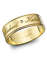 Gents 9ct Gold Personalised Wedding Band