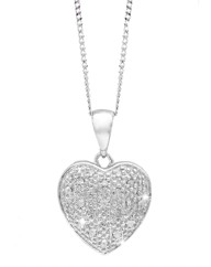 9ct White Gold Diamond-Set Heart Pendant