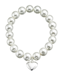 Sterling Silver & Pearl Stretch Bracelet