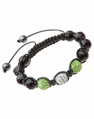 Green & White Crystal Bead Bracelet