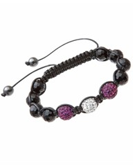 Purple & White Crystal Bead Bracelet