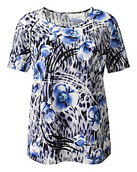 Slimma Short Sleeved Print Jersey Top