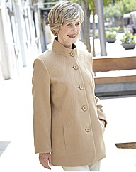 3/4 Length Coat With Seaming Detail