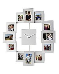 Silver 12 Window Collage Clock Frame