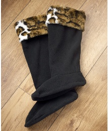 Fleecy Welly Warmers With Faux Fur Trim