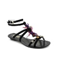 Cafe Noir Black Jewelled Sandals