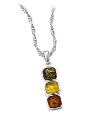 Silver-Plated 3 Stone Amber Pendant