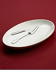 Serving Dish with Carving Knife and Fork