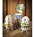 Set of 3 Porcelain Egg Trinkets