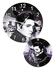 Elvis Glass Wallclock & Glass Desk Clock