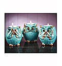 Set Of 3 Porcelain Owl Tea Light Holders
