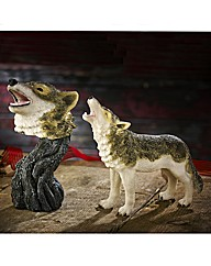 Set of 2 Howling Wolf Figurines