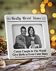 Cute Couple & Baby Cermaic Photo Frame