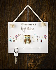 Personalised Wooden Owl Key Holder