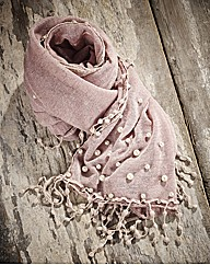 Simulated Pearl & Lace Scarf