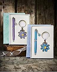Set of 2 Daisy Pens and Keyrings Set