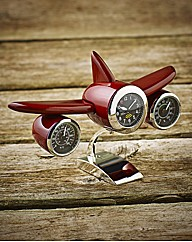 Wooden Aeroplane Clock Therm & Humidity