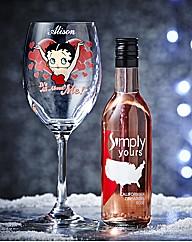 Personalised Betty Boop Glass & Wine
