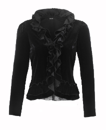 Petite Joanna Hope Ruffle Velour Jacket