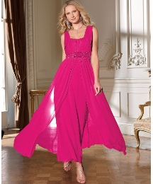 Hot Pink Plus Size Chiffon Dress