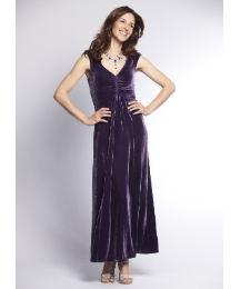 Silk Velvet V Neck Maxi Dress