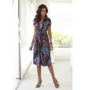 Joanna Hope Ruched Sleeve Print Dress