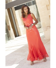 Joanna Hope Frill Godet Maxi Dress