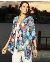 Sea Shells Print Kimono Cardigan