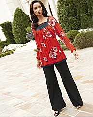 Joanna Hope Lace Trim Print Tunic