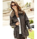 Joanna Hope Faux Fur Trim Quilted Jacket