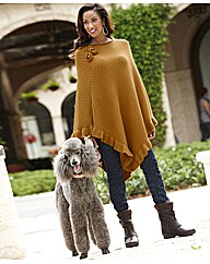 Joanna Hope Knitted Rosette Poncho