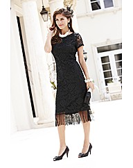 Joanna Hope Fringe Detail Lace Dress