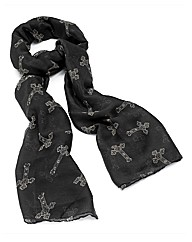 Petal Dolls Black Cross Scarf