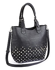 Stud PU Bucket Bag With X Body Strap