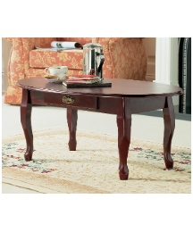 Oval Queen Anne Coffee table With Drawer