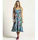 Floral Print Tiered Midi Dress 43inch