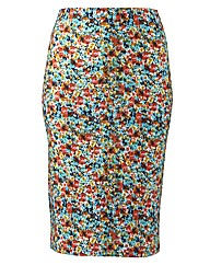 Ditsy Print Tube Midi Skirt Length 27in