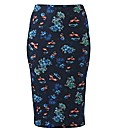 Flamingo Print Tube Midi Skirt 27in