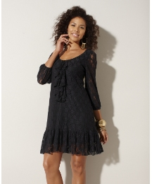 Lace Ruffle Placket Tunic Dress