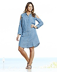 Cut Out Sleeve Denim Dress