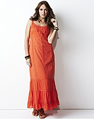 Crochet Trim Tiered Maxi Dress