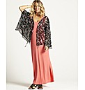 Sheer Printed Cape Sleeve Shrug