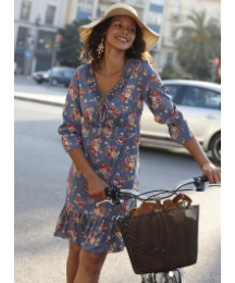 Flower Print Frill Hem Dress