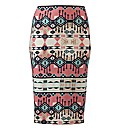 Aztec Print Tube Midi Skirt Length 27in