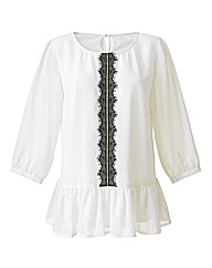 Eyelash Lace Trim Blouse