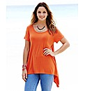 Jersey T- Shirt with Dipped Side Hem