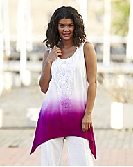 Dip Dye Vest with Shaped Hem