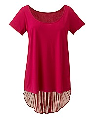 Dipped Hem Pleat Back Jersey Top
