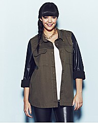 Military Jacket with PU Sleeves