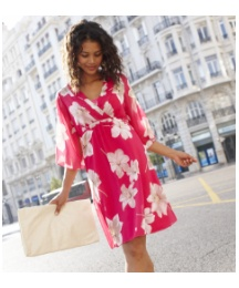 Flower Print Kimono Dress & Camisole